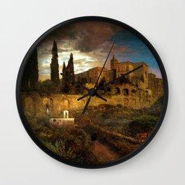 Villa d'Este in Tivoli by Oswald Achenbach Wall Clock