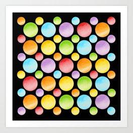 Candy Rainbow Polka Dots Art Print