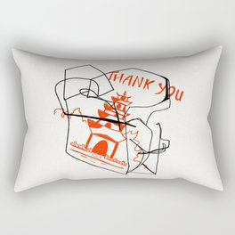 Chinese Food Takeout - Contour Line Drawing Rectangular Pillow