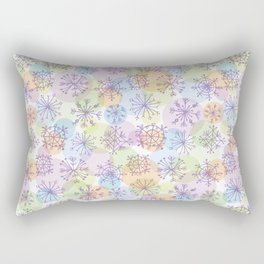 Merry Christmas pattern with purple snowflakes on light background Rectangular Pillow