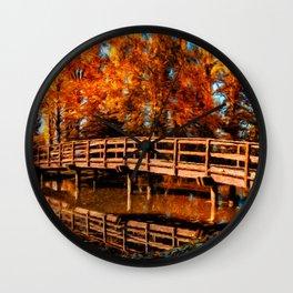 Bridge over autumn water Wall Clock