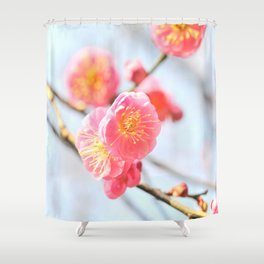 Delicate Pink & Yellow Flowers Shower Curtain