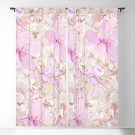 Hand painted pink lavender watercolor summer floral Blackout Curtain