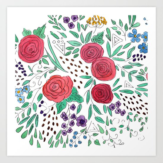 Flower meadow . Watercolor . Art Print