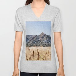 Flatirons Boulder // Colorado Landscape Photograph Yellow Red Field Green Forest Trees Unisex V-Neck