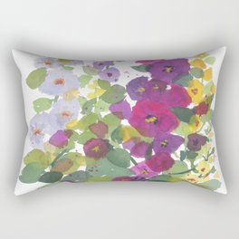 Purple Hollyhock Garden Rectangular Pillow