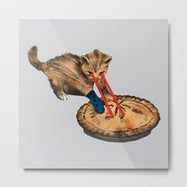 Laser-Eyed Kitten with a Mitten Metal Print