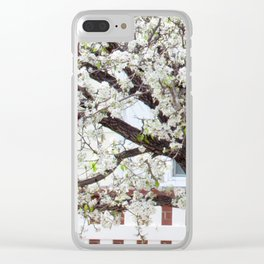 White Cherry Blossom Tree Clear iPhone Case