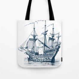 Blue vintage nautical wind sailing boat Tote Bag