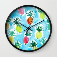pineapples Wall Clocks featuring Pineapples by Barbarian // Barbra Ignatiev
