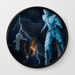 Viking woman against the Ice Giant Wall Clock