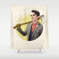 robocop Shower Curtains featuring Mr. Michigan by keith p. rein