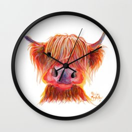 Scottish Highland Cow ' CHILLI CHOPS ' by Shirley MacArthur Wall Clock