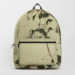 Hokusai – campanula and odonata -insect,flower, nature,garden Backpack