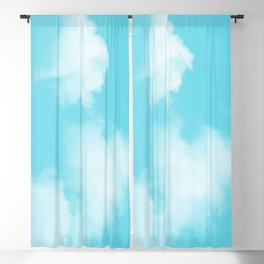 Aqua Blue Clouds Blackout Curtain