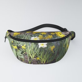 Yellow and White Daffodils Against a Rock Wall Fanny Pack