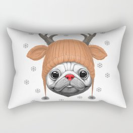 Pug Rudolph Rectangular Pillow