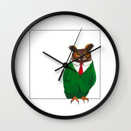 Owl in suit Wall Clock