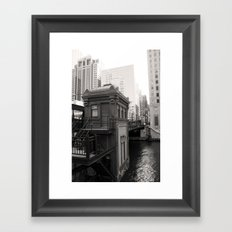 Black and White Chicago River Boat House Photography Framed Art Print