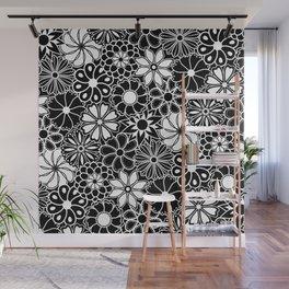 Mid Century Hawaiian Flower Print - Black and White Wall Mural