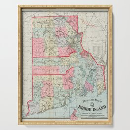 Vintage Map of Rhode Island (1887) Serving Tray