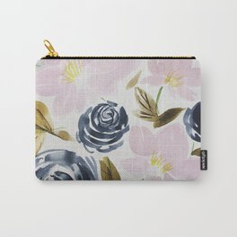 Pink and Blue Watercolor Bouquet Carry-All Pouch