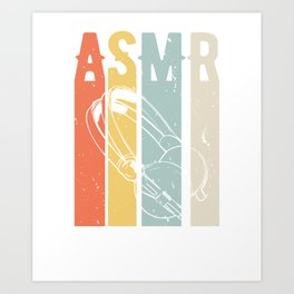 Retro Vintage ASMR Headphones Art Print