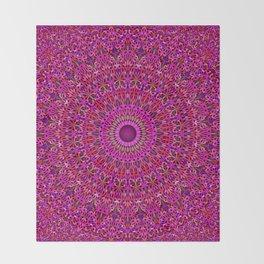 Deep Pink Garden Mandala Throw Blanket