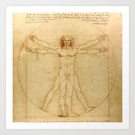 Le proporzioni del corpo umano secondo Vitruvio, Leonardo da Vinci, 1490 Art Print