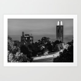 KU Campanile and The Oread Hotel - Lawrence Kansas Monochrome Art Print