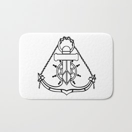 Anchor and Steering Helm [Outline] Bath Mat