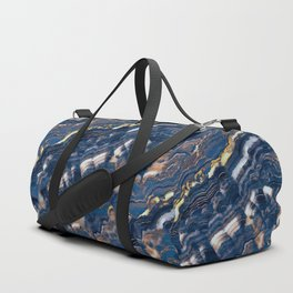 Blue marble with Golden streaks Duffle Bag