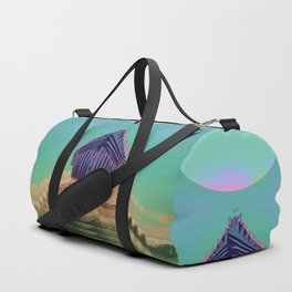 Surfing The Big Wave Searching Mermaids Duffle Bag