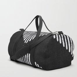 Diamond Stripe Geometric Block Print in Black and White Duffle Bag