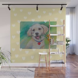 Yellow Valentine Cute puppy dog with hearts and flowers Wall Mural
