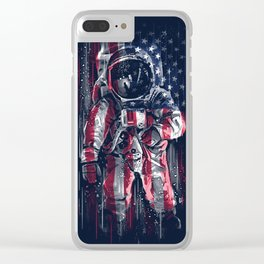 Astronaut Flag Clear iPhone Case