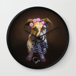 Curlers and Coffee and Puppy Dog Eyes Wall Clock