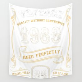 34th-Birthday-Gift-Gold-Vintage-1983-Aged-Perfectly Wall Tapestry