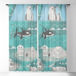 Arctic animals teal Sheer Curtain