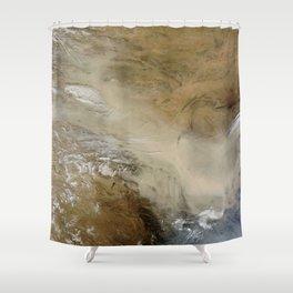 1140. Dust storm in the Gobi Desert, China Shower Curtain