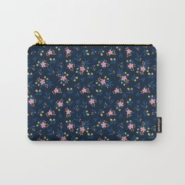 Pink Florals on Blue Carry-All Pouch