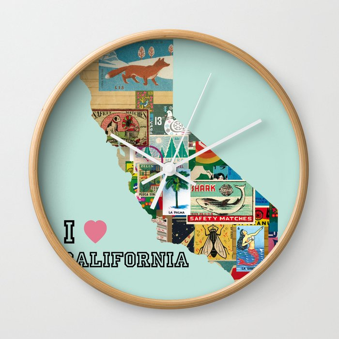 I Love California Collage Vintage Paper Wall Clock By