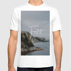 I am free White Mens Fitted Tee MEDIUM