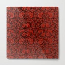 Red, art nouveau, beautiful,floral pattern, revamped, chic,elegant,modern,trendy,vintage,belle epoque, victorian, femme,flowers Metal Print