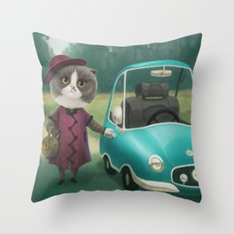 Where are you going kitty? Throw Pillow