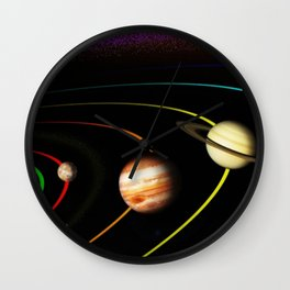 Solar System, the Sun, Planets, & Kuiper Belt by Image Editor Wall Clock