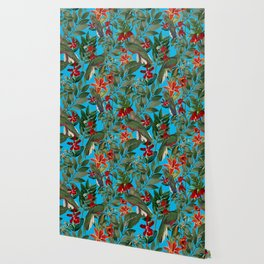 Vintage & Shabby Chic - Tropical Birds and Orchid  Aloha Jungle Flower Garden Wallpaper