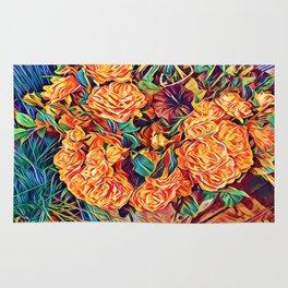 Red Orange Valentine Flowers Rug