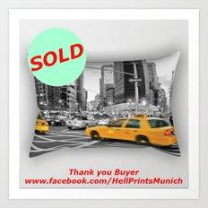 SOLD - NYC Yellow Cabs Flat Iron Building / RECTANGULAR PILLOW LARGE (25.5