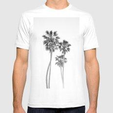 Monochrome California Palms MEDIUM Mens Fitted Tee White